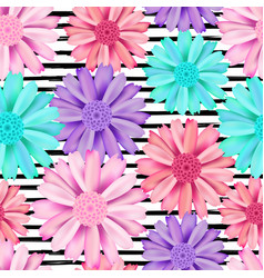 Pink and blue flower seamless pattern vector
