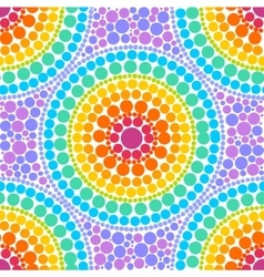 Rainbow colors concentric circles in dot art style vector image