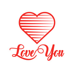 red heart with calligraphy text love you for vector image