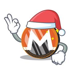 Santa monero coin character cartoon vector