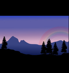 scenery of mountain with rainbow silhouettes vector image vector image