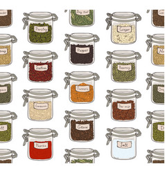 seamless pattern with various ground spices or vector image vector image