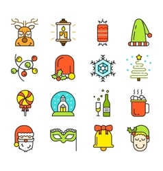 Set of Christmas Icons Isolated Flat Style vector image