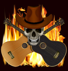 Skull in a cowboy hat with crossed guitars vector