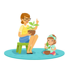 sweet little girl learning about plants with vector image