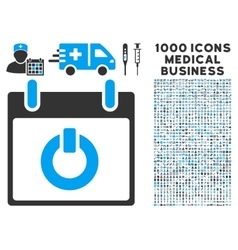 Turn on calendar day icon with 1000 medical vector