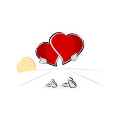 Walking hearts vector