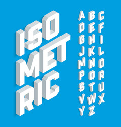 White isometric 3d font three-dimensional vector