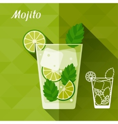 With glass of mojito in flat design style vector