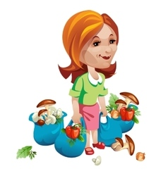 Woman buyer with vegetables and mushrooms vector