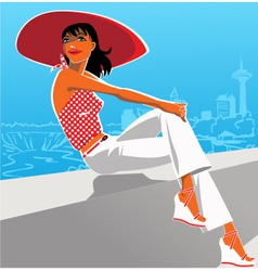 Woman in a red hat vector image vector image