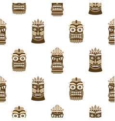 wooden tiki mask seamless pattern vector image