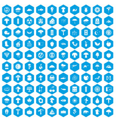 100 mushrooms icons set blue vector