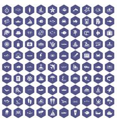 100 ocean icons hexagon purple vector
