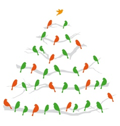 Christmas tree with birds vector image