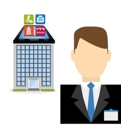 Smartphone receptionist and hotel digital apps vector