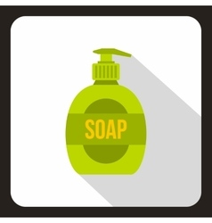 Green soap bottle icon flat style vector