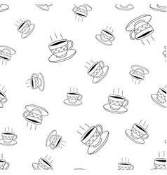 Coffee seamless pattern in doodle style vector