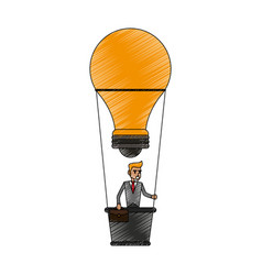 color pencil ligth bulb hot air balloon with vector image