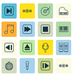 Set of 16 multimedia icons includes note sound vector