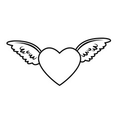 Red heart with angel wings decorated feather vector