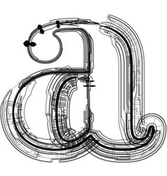 Technical typography letter a vector