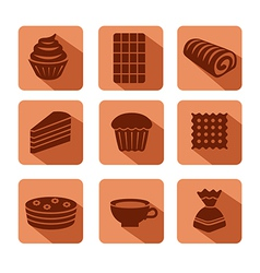 confectionery icons flat vector image