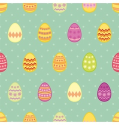 Tile pattern with easter eggs on mint blue vector