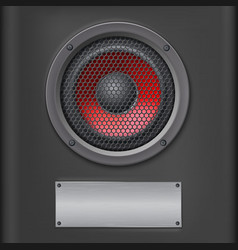 Sound speaker with metal plate vector