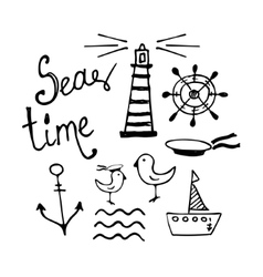 Sea and boat hand-drawn doodles vector