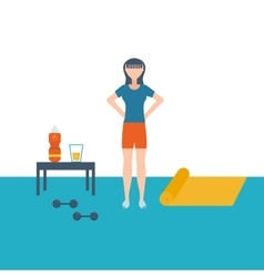 Flat set of fitness woman flat vector