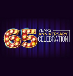 65 years anniversary banner sixty-five vector image