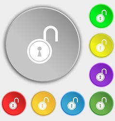 Open lock icon sign symbol on eight flat buttons vector