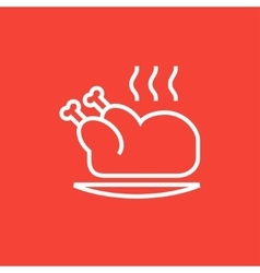 Baked whole chicken line icon vector