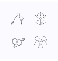 Male female dice and family icons vector image