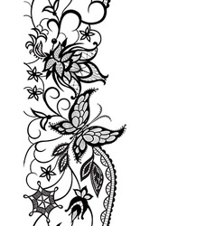 Abstract lace with elements ofv flowers leaves and vector