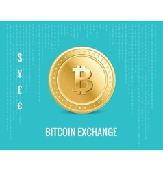 Bitcoin exchange icon on the digital blue vector
