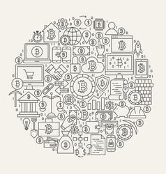 Bitcoin line icons circle vector