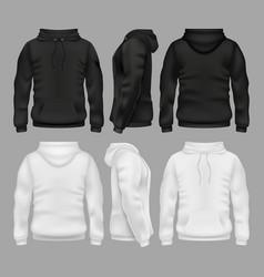 Black and white blank sweatshirt hoodie vector