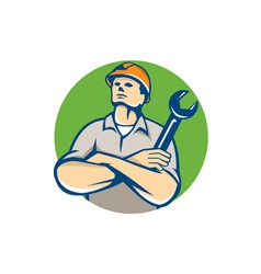 Builder arms crossed wrench circle retro vector