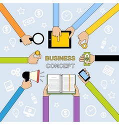 Business hands flat line vector image vector image