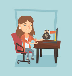 Business woman earning money from online business vector