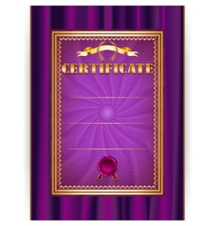certificate on textile background vector image vector image
