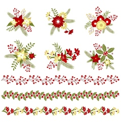 Christmas Bouquets And Borders vector image