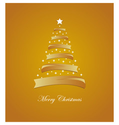 Christmas card with stylized white and golden tree vector