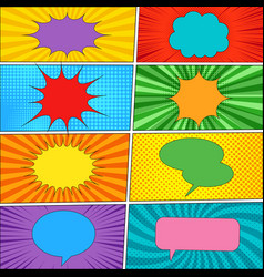 comic backgrounds and speech bubbles collection vector image vector image