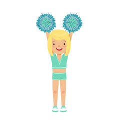 Cute little blond girl dancing with blue pompoms vector