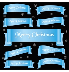 Cyan shiny color merry christmas slogan curved vector