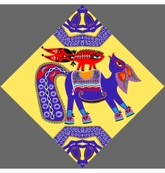 decorative ethnic folk animals in Ukrainian vector image vector image