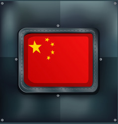 Flag on china on metalic background vector